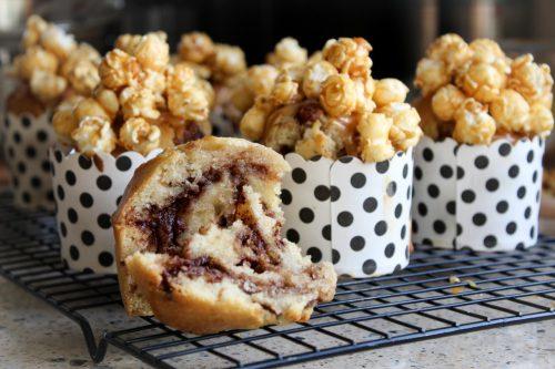 Gezouten karamel popcorn muffins